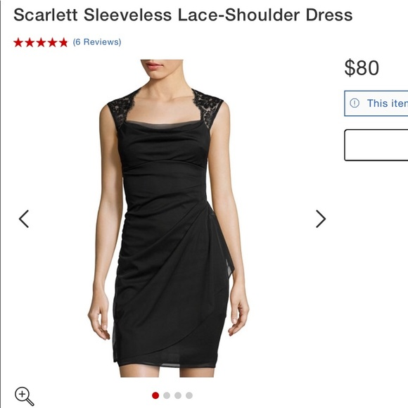 dce6f789b5 Black cocktail dress with lace accent. NWT. Scarlett